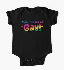 OKAY I might be gay cute Rainbow Pride  One Piece - Short Sleeve