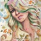 Watercolor Purple Eyed Woman by justteejay