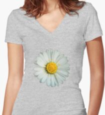 White daisy Women's Fitted V-Neck T-Shirt