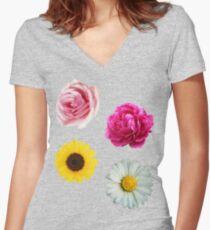 Flowers Set Women's Fitted V-Neck T-Shirt
