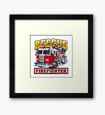 Vector Cartoon Fire Truck Framed Print
