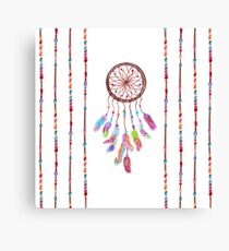Hand Painted Watercolor Dreamcatcher Beads Feather Canvas Print