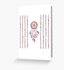 Hand Painted Watercolor Dreamcatcher Beads Feather Greeting Card