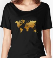 Black and Gold World Map Women's Relaxed Fit T-Shirt