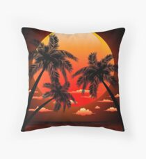 Warm Topical Sunset with Palm Trees Throw Pillow