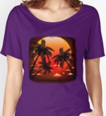 Warm Topical Sunset with Palm Trees Women's Relaxed Fit T-Shirt