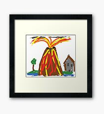 Volcano & House by Xander Framed Print