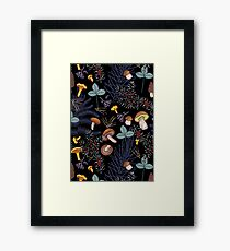 dark wild forest mushrooms Framed Print