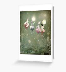 Floating Fuchsia Fairies Greeting Card