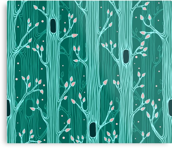 Emerald forest. Seamless pattern with trees by yulia-rb