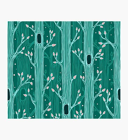 Emerald forest. Seamless pattern with trees Photographic Print