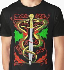 Celtic Sword and Dragons Graphic T-Shirt