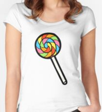 Rainbow Lollipop Pattern Women's Fitted Scoop T-Shirt