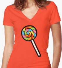 Rainbow Lollipop Pattern Women's Fitted V-Neck T-Shirt