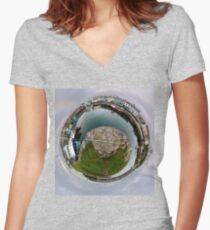 Hurry Head Harbour, Carnlough, County Antrim - Sky out Women's Fitted V-Neck T-Shirt
