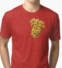 Yellow Wildflower with Purple Center Tri-blend T-Shirt