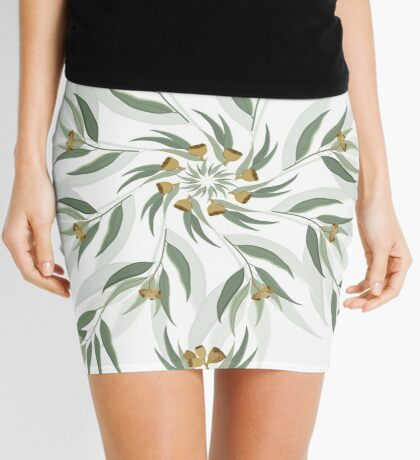 Circular pattern of eucalyptus leaves and seeds Mini Skirt