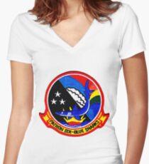 VP-6 Blue Sharks Crest Women's Fitted V-Neck T-Shirt