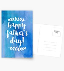 Happy Father's Day   Blue Watercolor Postcards
