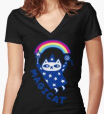 MAGICAT Women's Fitted V-Neck T-Shirt