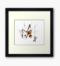 Creepy Puppet, Hanging with Scissors Framed Print