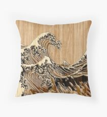 The Great Hokusai Wave in Bamboo Inlay Style Throw Pillow