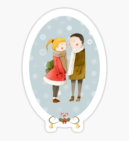 Lovers In The Snow Sticker