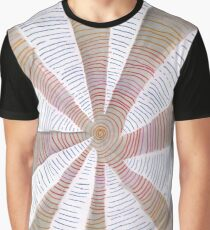 Blue, Red, Orange, Grey and White Spiral Graphic T-Shirt