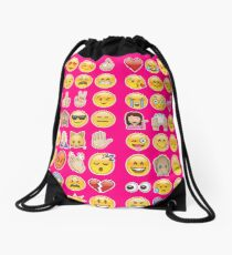 pink emoji Drawstring Bag