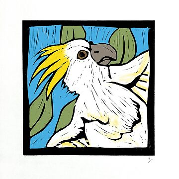 Cockatoo, linocut, colour 1990 by georgianaarcher