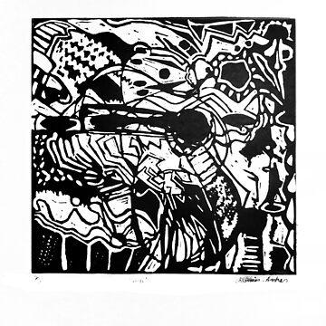 Music, linocut, 1986 by georgianaarcher