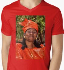 Liberian Woman in Dazzling Red Mens V-Neck T-Shirt