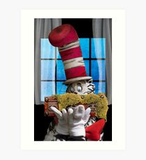 Cat In The Hat With His Moss-Covered Three-Handled Family Credenza Art Print