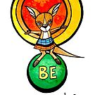 Be Centered and Still: Whimsical Cute Kangaroo Illustration by mellierosetest