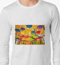 autumn umbrellas in the sky Long Sleeve T-Shirt