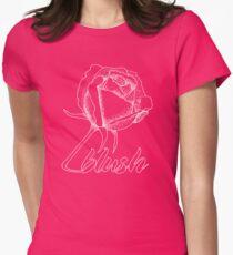 Sweet Blushing Rose. White Women's Fitted T-Shirt