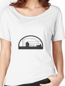 Farm Barn House Silo Black and White Women's Relaxed Fit T-Shirt