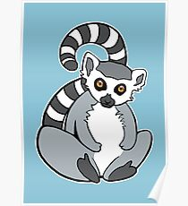 Sitting Ring-Tailed Lemur Poster