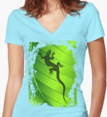 Lizard Gecko Shape on Green Leaf Women's Fitted V-Neck T-Shirt