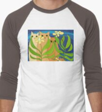 Three Cats, Two Flowers, One Snail and A Ladybug Men's Baseball ¾ T-Shirt