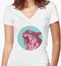Magenta tiger Women's Fitted V-Neck T-Shirt