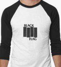 Camiseta ¾ bicolor para hombre BANDERA NEGRA en BLANCO