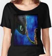 Hiccup And Toothless The Black Night Fury Dragon Women's Relaxed Fit T-Shirt
