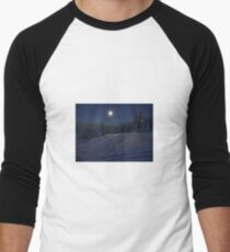 winter scene at night Men's Baseball ¾ T-Shirt