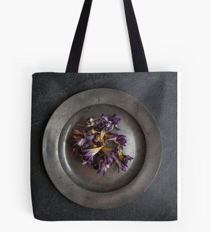 flowers on pewter plate Tote Bag