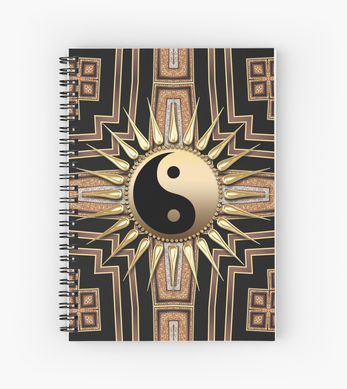 'Black Gold Art Deco New Age fusion' Spiral Notebook by webgrrl