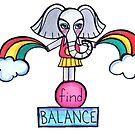 Find Balance: Whimsical Elephant Watercolor Illustration by mellierosetest
