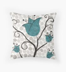 Teal Polka-Dot Flowers - Scandinavian Tulips - Watercolor Flowers Throw Pillow
