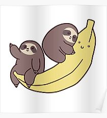 Sloths and Giant Banana Poster