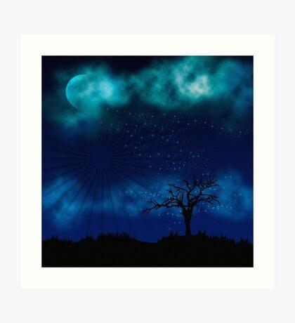 Blue Night Sparkle Full Moon Art Print